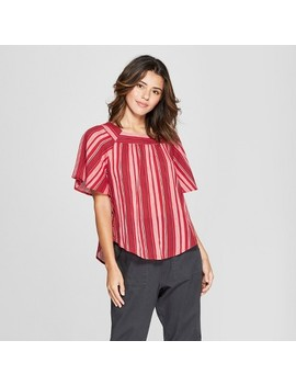Women's Ruffle Sleeve Top   Universal Thread™ Red by Universal Thread™