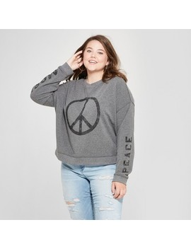 Women's Plus Size Peace Oversized Pullover Graphic Sweatshirt   Fifth Sun (Juniors') Heather Gray by Fifth Sun