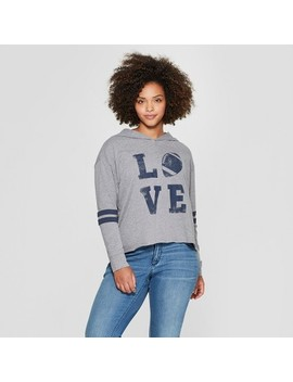 Women's Plus Size Football Love Hooded Graphic Sweatshirt   Fifth Sun (Juniors') Heather Gray by Fifth Sun