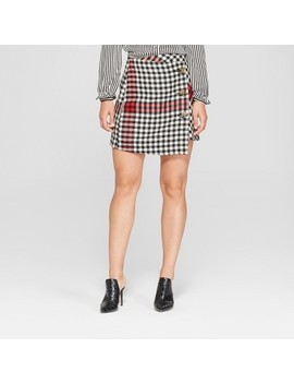 Women's Plaid A Line Mini Skirt   Who What Wear™ Black/White by Who What Wear