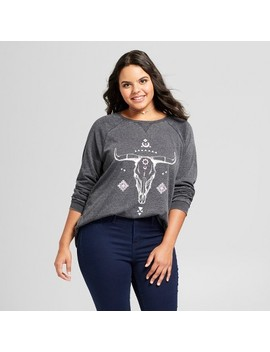 Women's Plus Size Cow Skull Graphic Sweatshirt   Grayson Threads (Juniors')   Gray by Grayson Threads