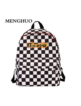 Menghuo 2018 Designer New Plaid Backpack Women School Bags For Teenage Girls Cool Fashion Brand Backpacks Hot Sac A Dos Mochilas by Menghuo