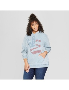 Junk Food Women's Plus Size Peace Sign Graphic Sweatshirt   Blue by Junk Food