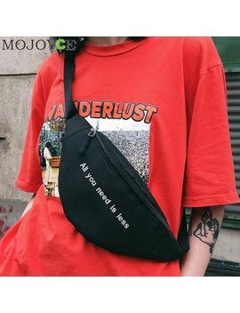 Men Women Canvas Print Letter Harajuku Style Waist Bag Unisex Fanny Pack Chest Packs Money Belt Buik Tasje Belly Bags Purse Chic by Mojoyce