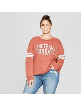Women's Plus Size Football Sundays Graphic Sweatshirt   Modern Lux (Juniors') Red by Modern Lux