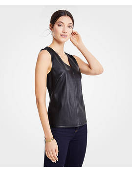 Petite Faux Leather Ponte Shell by Ann Taylor