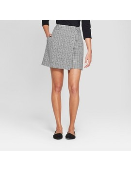 Women's Plaid Menswear Wrap Skirt   A New Day™ Gray by A New Day™