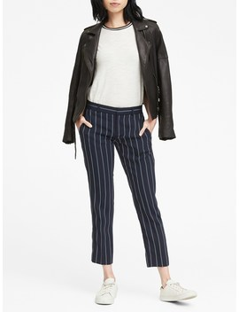 Avery Straight Fit Stretch Crepe Stripe Ankle Pant by Banana Repbulic