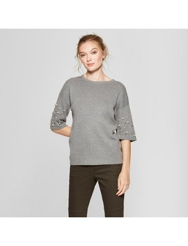 Women's Short Sleeve Pearl Embellished Pullover Sweater   A New Day™ by A New Day™