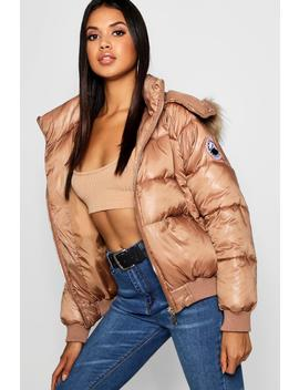 Faux Fur Trim Cire Puffer Jacket by Boohoo