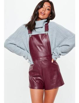 Burgundy Faux Leather Pinafore Playsuit by Missguided