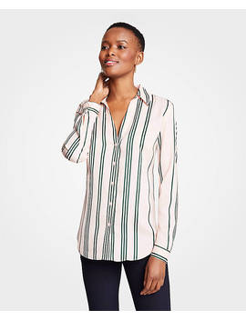 Petite Stripe Essential Button Down Blouse by Ann Taylor