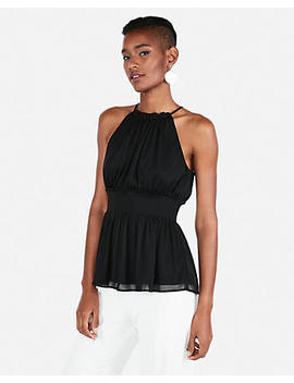 High Neck Smocked Peplum Tank by Express