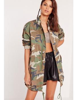 Camo Utility Longline Jacket by Missguided