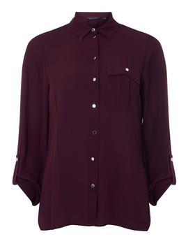 Wine Button Pocket Roll Sleeve Shirt by Dorothy Perkins