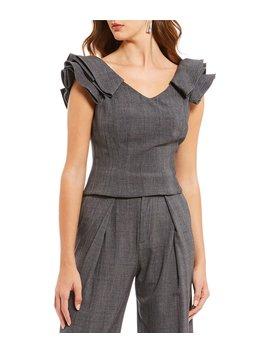 Cindi Novelty Shirting Ruffle Sleeve Menswear Coordinating Blouse by Antonio Melani