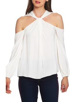 Twist Neck Cold Shoulder Blouse by 1.State