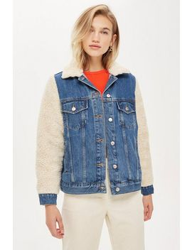 Borg Sleeve Denim Jacket by Topshop