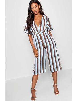 Button Through Striped Jumpsuit by Boohoo