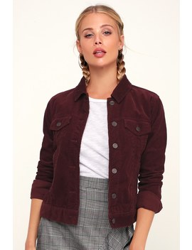 Hayes Burgundy Corduroy Jacket by Lulu's