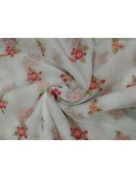 Beautiful Dyeable Organza Embroidery Work Fabric By Yard by Gota Vastra