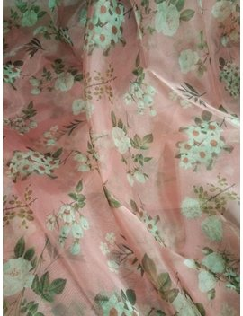 Beautiful Floral Light Pink Organza Print Fabric By Yard by Gota Vastra