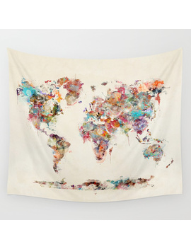 World Map Watercolor Deux Wall Tapestry by