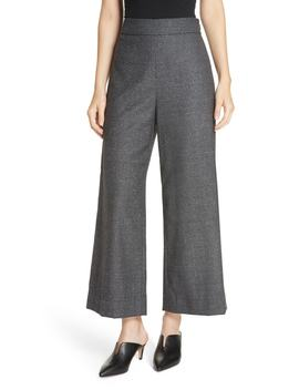 Wide Leg Crop Silk Wool Blend Trousers by Rebecca Taylor
