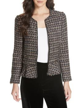 Zip Front Tweed Peplum Jacket by Rebecca Taylor