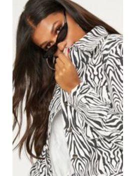 Zebra Print Trucker Jacket  by Prettylittlething