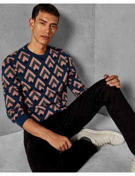 Geo Jacquard Wool Jumper by Ted Baker