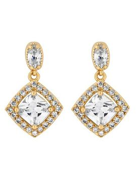 Jon Richard   Gold Cubic Zirconia Square Drop Earrings by Jon Richard