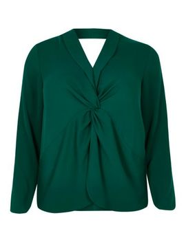 Plus Green Twist Front Long Sleeve Blouse by River Island