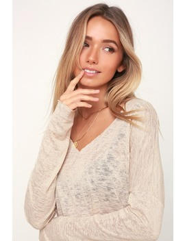Brayden Beige Long Sleeve Sheer Sweater Top by Project Social T