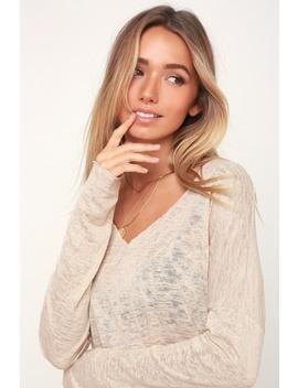 Brayden Beige Long Sleeve Sheer Sweater Top by Project Social T