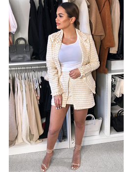 Apricot And Cream Tweed Blazer And Skirt Co Ord   Carah by Rebellious Fashion