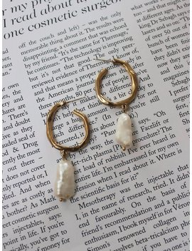 Medium Size Uneven Hammered Gold Hoop Earrings With Pearl Charm | Gift For Her | by Aureumthebrand
