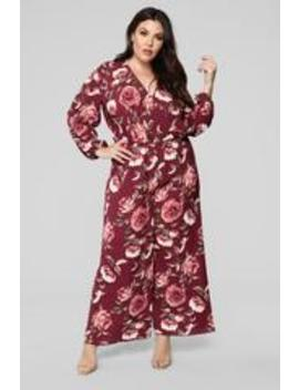 Smell The Roses Long Sleeve Jumpsuit   Burgundy by Fashion Nova