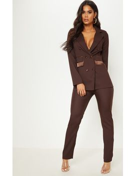 Chocolate Woven Suit Trousers by Prettylittlething