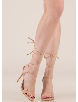 Tying To Know Strappy Lace Up Heels by Go Jane
