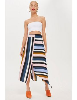 Multi Stripe Asymmetric Midi Skirt by Topshop