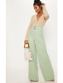 Sage Green Faux Suede Belted Wide Leg Trouser by Prettylittlething