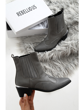 Grey Pu Cowboy Ankle Boots   Keko by Rebellious Fashion