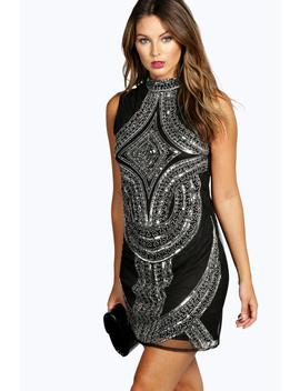 High Neck Embellished Dress by Boohoo