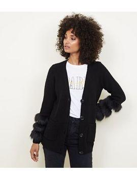 Black Knit Faux Fur Cuff Cardigan by New Look