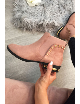 Pink Studded Faux Suede Ankle Boots   Pearson by Rebellious Fashion