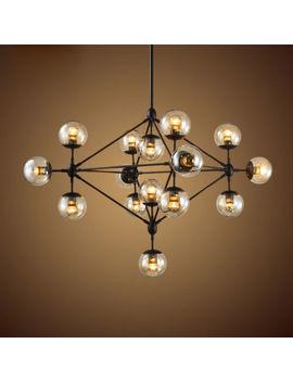 Pendant Light Fixture Multiple Tea Glass Globe Black Iron Ceiling Hanging Lamp by Ebay Seller