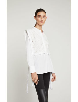 Embroidered Lilies Cotton Shirt by Bcbgmaxazria