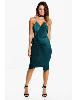 Evie Wrap Detail Plunge Slinky Midi Dress by Boohoo