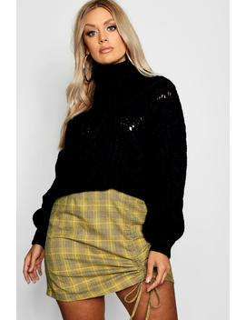 Plus Woven Check Ruched Mini Skirt by Boohoo